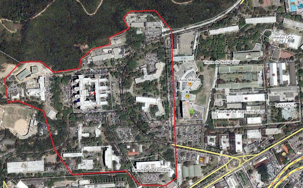 Vista de satélite parcial de la CUC. En rojo, la zona correspondiente al Centro Médico (click para ampliar la imagen)